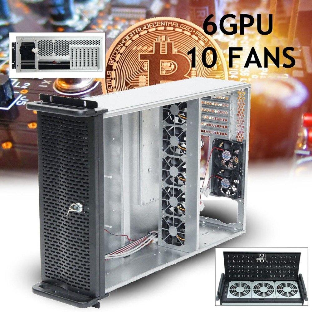 6 GPU 4U Rack Mineur Minière Cadre Minière Serveur Cas avec 10 FANS Rsiers Cadre Plate-Forme