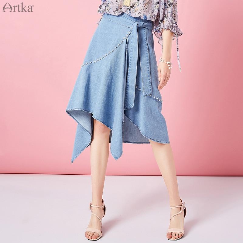 ARTKA 2019 الصيف الفرنسية النساء تنورة الدنيم الركبة طول بلون الديكور الأزياء عالية الخصر التنانير مكتب تنورة حريمي QN10096C-في تنورة من ملابس نسائية على  مجموعة 1