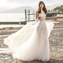 Eightree 2019 New Bohemian Wedding Dress A-line Bateau Neck Lace Appliqued Dresses Beach Sweep Train Backless Plus Size