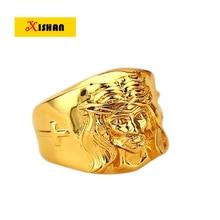 Retail 1 Pcs 2017 Men's High Quality New 24K Gold color Lion Wedding Ring Hip Hop Jewelry 1 Piece