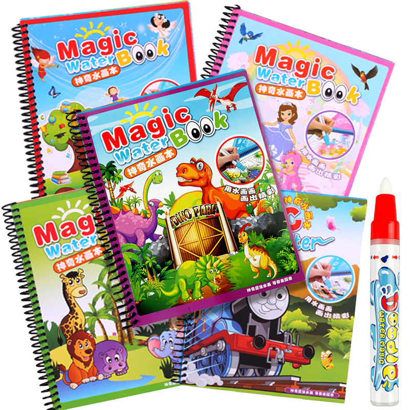 New Hot 1pcs  Magic Water Book Send By Random Coloring Books For Children Adult Relieve Stress Kill Time Painting Drawing Book(China)