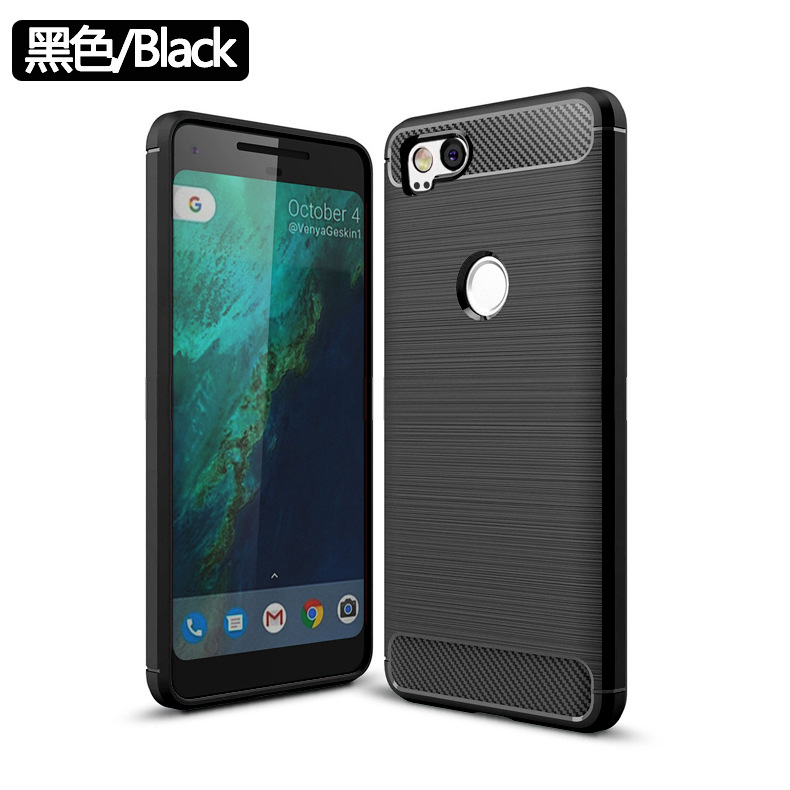 100Pcs/Lot Carbon Fiber Silicone TPU Back Case For Google Pixel 2/For Google Pixel XL 2