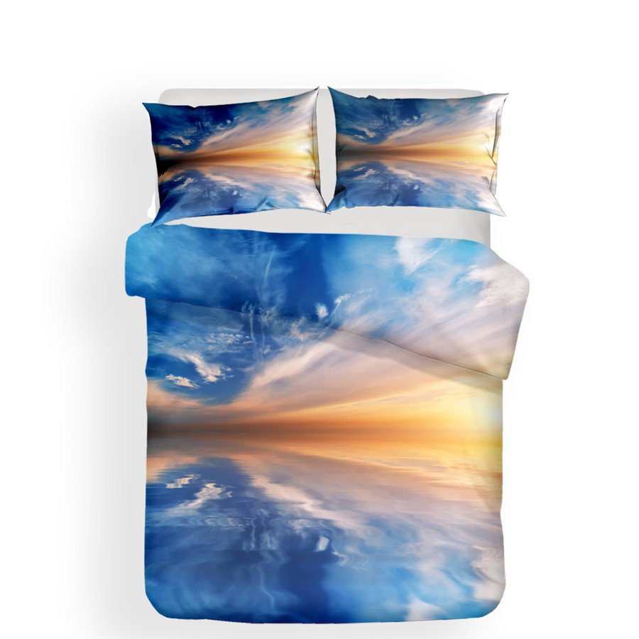 Image 2 - Bedding Set 3D Printed Duvet Cover Bed Set Landscape Cloud Home Textiles for Adults Lifelike Bedclothes with Pillowcase #FG01-in Bedding Sets from Home & Garden