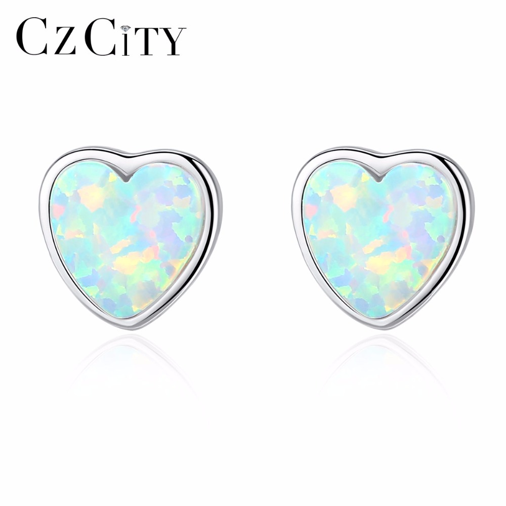 CZCITY 925 Sterling Silver Lovely Heart Stud Earrings for Women Three Color Brightly Opal Engagement Earrings Fine Jewelry GiftsCZCITY 925 Sterling Silver Lovely Heart Stud Earrings for Women Three Color Brightly Opal Engagement Earrings Fine Jewelry Gifts