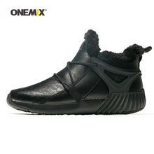 Men Running Shoes for font b Women b font Black Winter Snow Boots Wool Leather Jogging