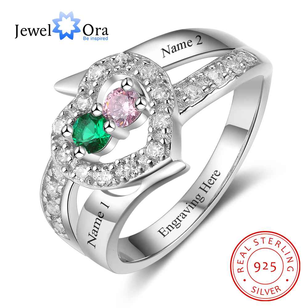 Personalized Gift Birthstone Custom Engrave 2 Names Promise Ring 925 Sterling Silver Anniversary Jewelry (JewelOra RI103271)