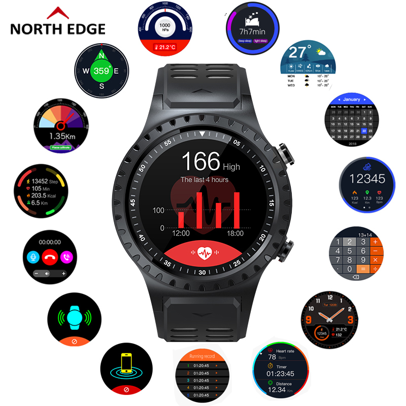 NORTH EDGE Smart GPS Bluetooth Phone Compass Heart Rate Monitor Watches Fitness Tracker Barometer Pedometer Digital