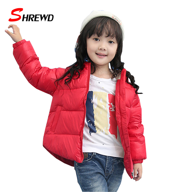 Girls Winter Coat 2017 Down Casual Solid Color Simple Winter Jackets For Kids Zipper Long Sleeve Hooded Baby Girl Clothes 5538W