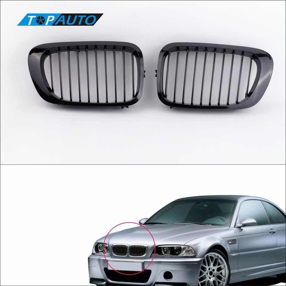 2Pcs Gloss Black Front Kidney Sport Grille for BMW E46 3 Series 2 Door Coupe Convertible 1998 2002