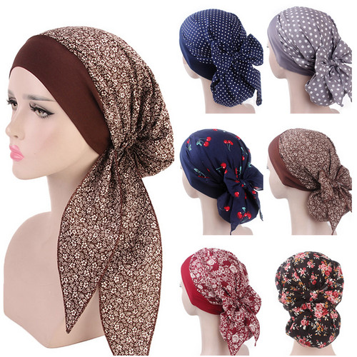 Women Cotton Printed Turban Hats Pastoral Style Muslim Hijab Caps Bandana Elastic Long Hair Band Head Wraps Indian Cap Headscarf