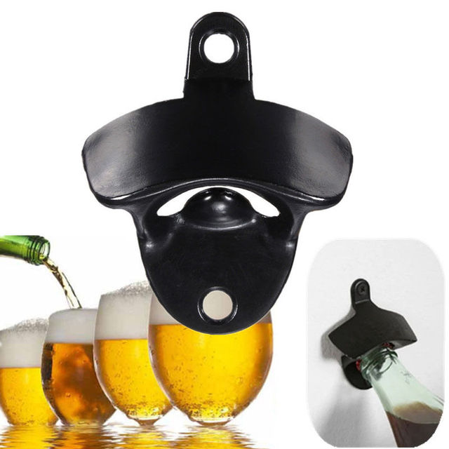 New Fashion Black Mini Wall Mount Stainless Steel Bar Wine Beer Gl Cap Bottle Opener Tools