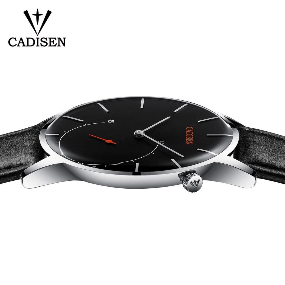 Hot Men Watch CADISEN New Business Fashion 2018 Top Brand Luxury Curved Glass Leather Quartz Watches Sport Waterproof Wristwatch цена и фото