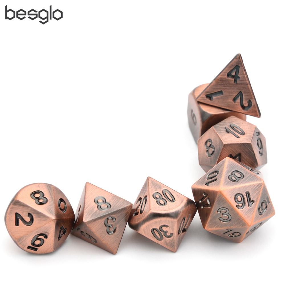 DnD Role Playing Games Metal Dice Set of 7 Dice Set Ancient Copper Color with Black