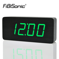 FiBiSonic 2018 Modern Calendar Alarm Clocks ,Thermometer Wooden clocks,LED Clock , Big numbers with digital clocks for wholesale