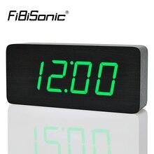 FiBiSonic 2020 מודרני שעונים מעורר לוח שנה, מדחום עץ שעונים, LED שעון, מספרים גדולים עם דיגיטלי שעוני עבור סיטונאי