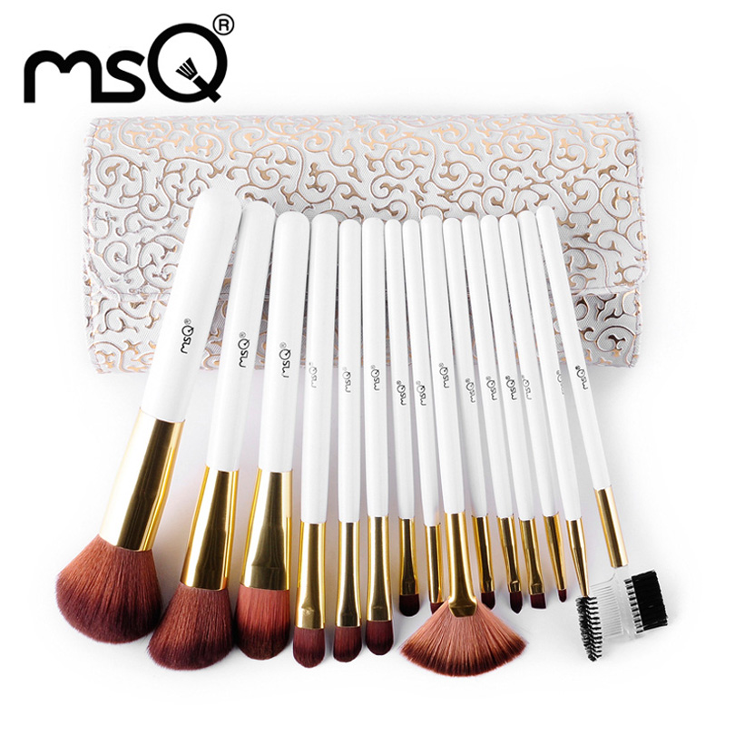 MSQ Brand Roman style 15pcs Makeup Brushes Set High Quality Soft Hair professional Cosmetic Tool full kit with PU Leather Case  msq professional 15pcs makeup brushes set soft synthetic hair natural wood handle with pu leather case for beauty fashion tool