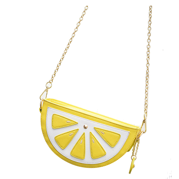 5 pcs of Creative Personality Female Bag New Summer Fruit Lemon Half Bag Aslant The One-shoulder Mini Chain Bag(yellow) lemon design chain bag