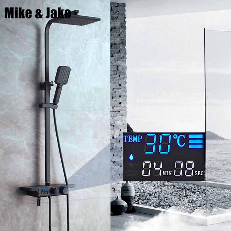 Digital preto misturador do banho de chuveiro termostática conjunto de chuveiro do banheiro preto torneira da Banheira com display digita chuveiro MJ9889