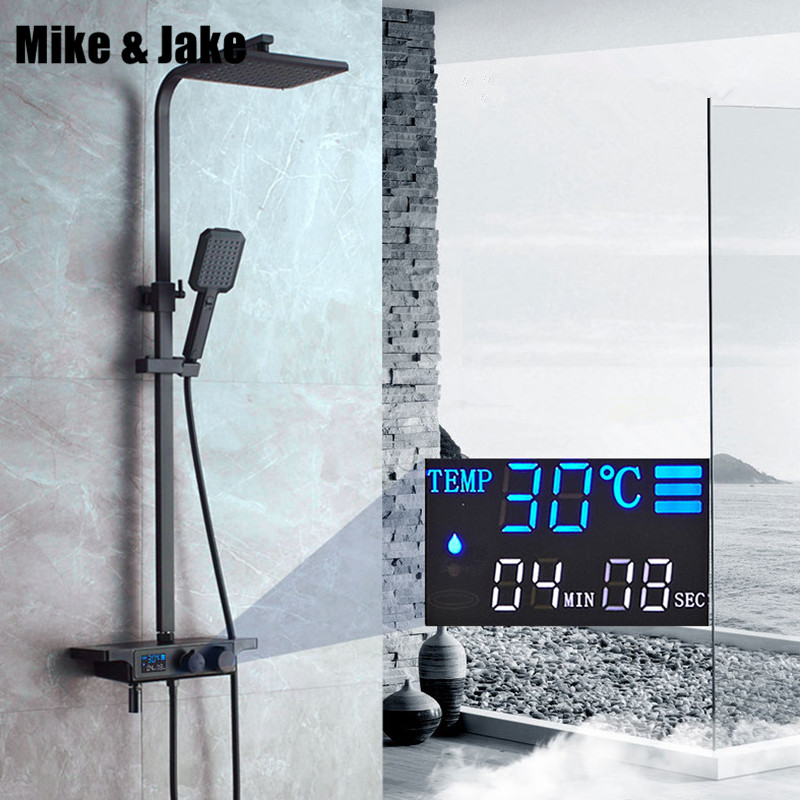 Preto digital conjunto de chuveiro termostática banho misturador do banheiro chuveiro preto torneira da banheira com display digita chuveiro conjunto mj9889
