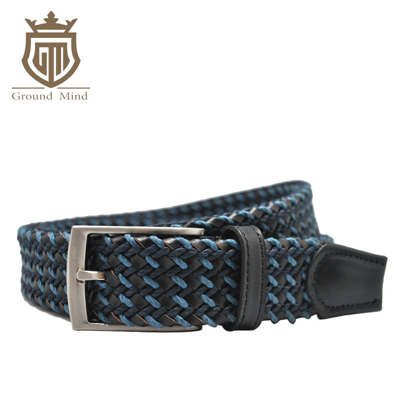Fashion braided thick men belts hand knitted cowhide leather and cotton pin buckle designer London style belt