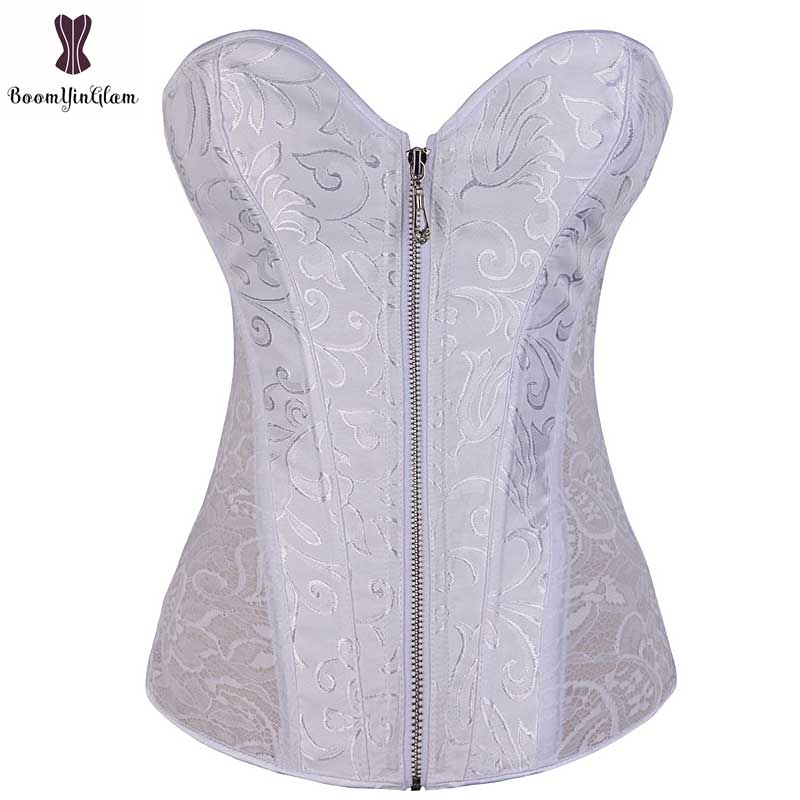 White Floral Front Zipper Closure Overbust   Corset   For Wedding Party Club Wear Steel Boned Waist Trainer   Bustier   Black Cream