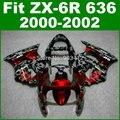 Preto cinza Camo Carenagens para 2000 2001 2002 Kawasaki ZX6R carenagem kit Ninja ZX636 ZX 6R 636 00 01 02 jogos do corpo D1O1