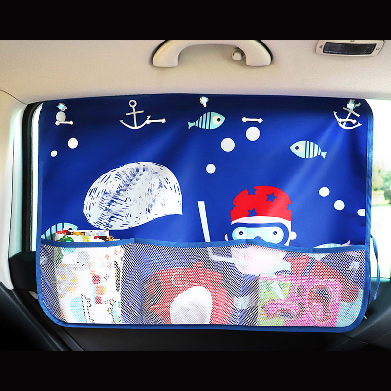 Car Cartoon Curtain Cover Sun Blocking Auto Curtain Side Blocking 70*50cm Tensile Sunshade Curtain for Children car-styling
