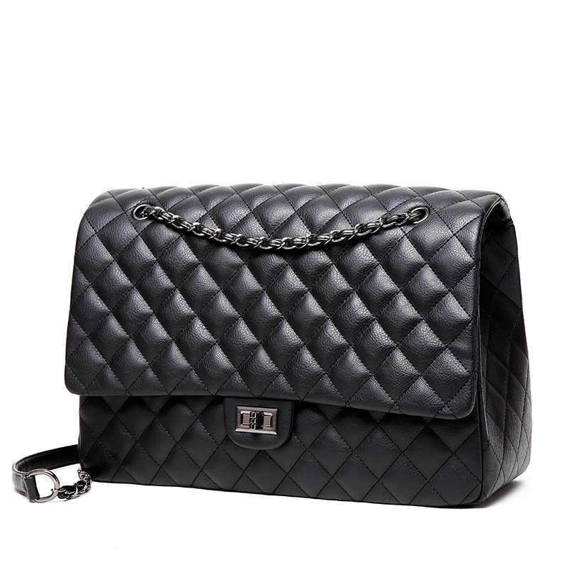 8623e5a53b Big Women Messenger Bags Black Leather Shoulder Bag Maxi Jumbo Flap Bags  High Quality Chains Handbag