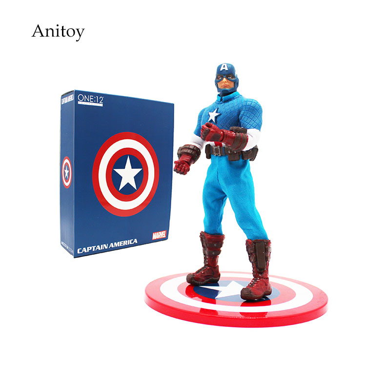 Anime Super Hero Avengers Marvel Captain America 1/12 Scale PVC Action Figure Collectible Model Toy 16.5cm KT4190 marvel deadpool funko pop super hero pvc ow batman action figure toy doll