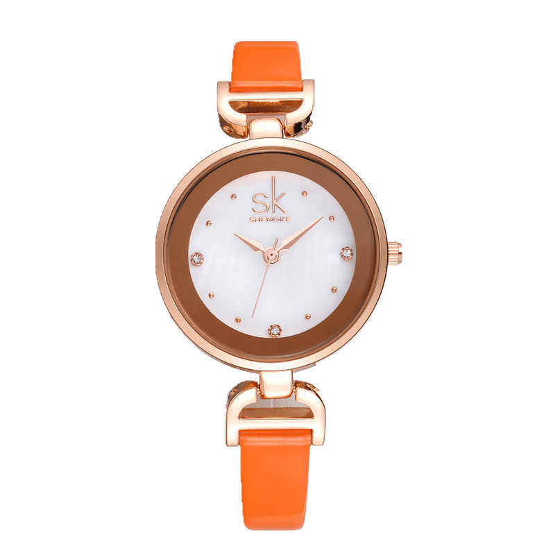 SK SHENGKE האופנה רוז זהב נשים שעון יהלומים של נשים שעונים למעלה מותג שעונים קטן עור גבירותיי שעונים Relogio Feminino
