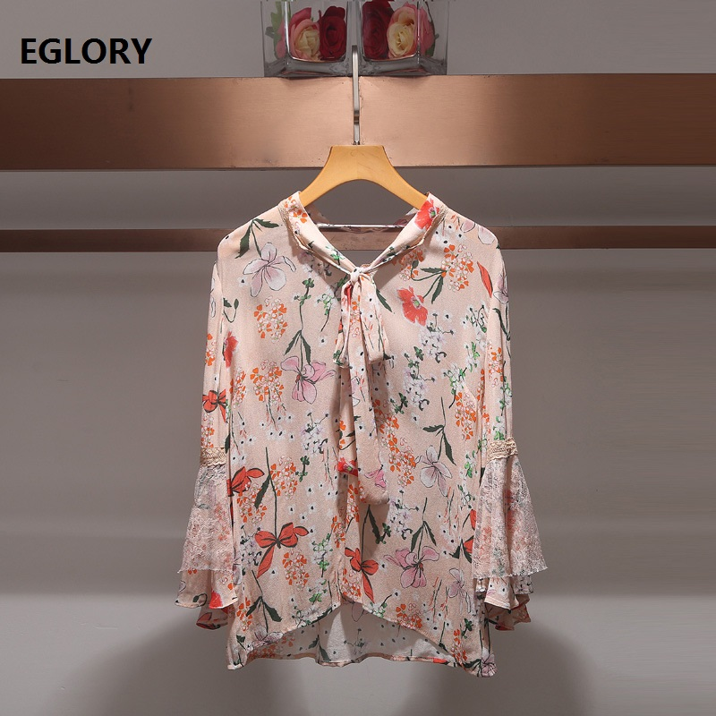 Tops Fashion New Blouse Runway Shirt 2018 Summer Woman Bow Collar Flare Sleeve Lace Patchwork Elegant Blouse Shirt Femme Chemise jenni new pink solid ruffled chemise l $39 5 dbfl