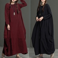 Vestidos Oversized 2018 Spring Autumn Maxi Long Dresses Women Long Sleeve Solid Cotton Retro Long Dress