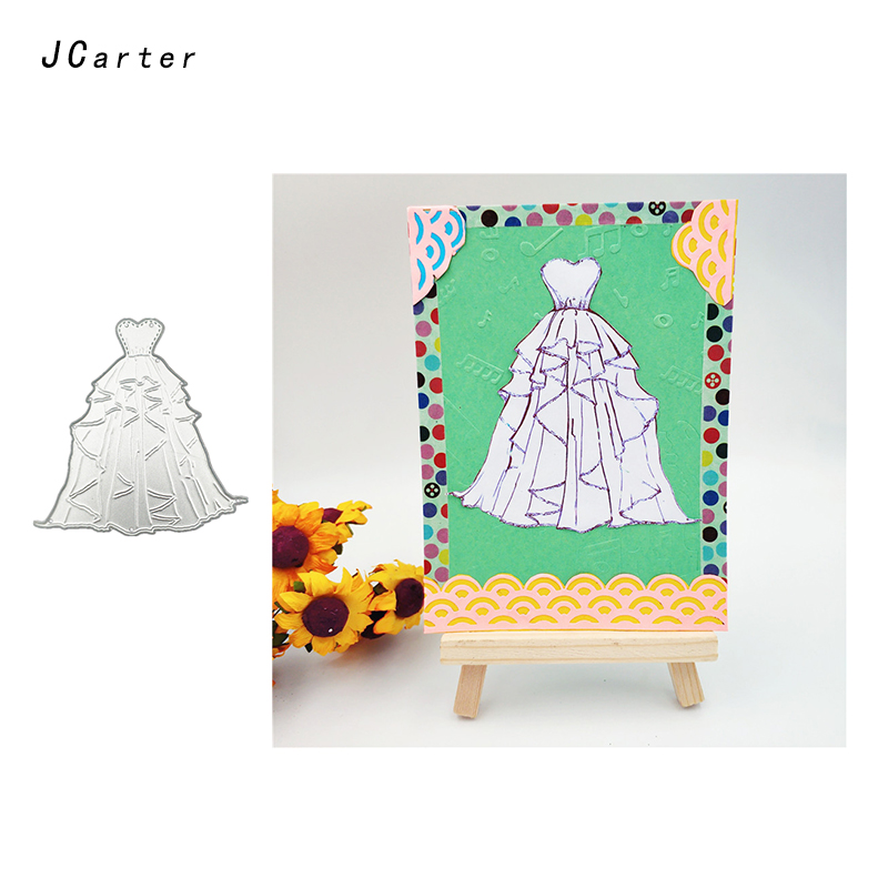 JC 2019 Love Heart Wedding Dress Metal Cutting Dies for Scrapbooking DIY Embossing Folder Cards Handmade Album Stencil Crafts