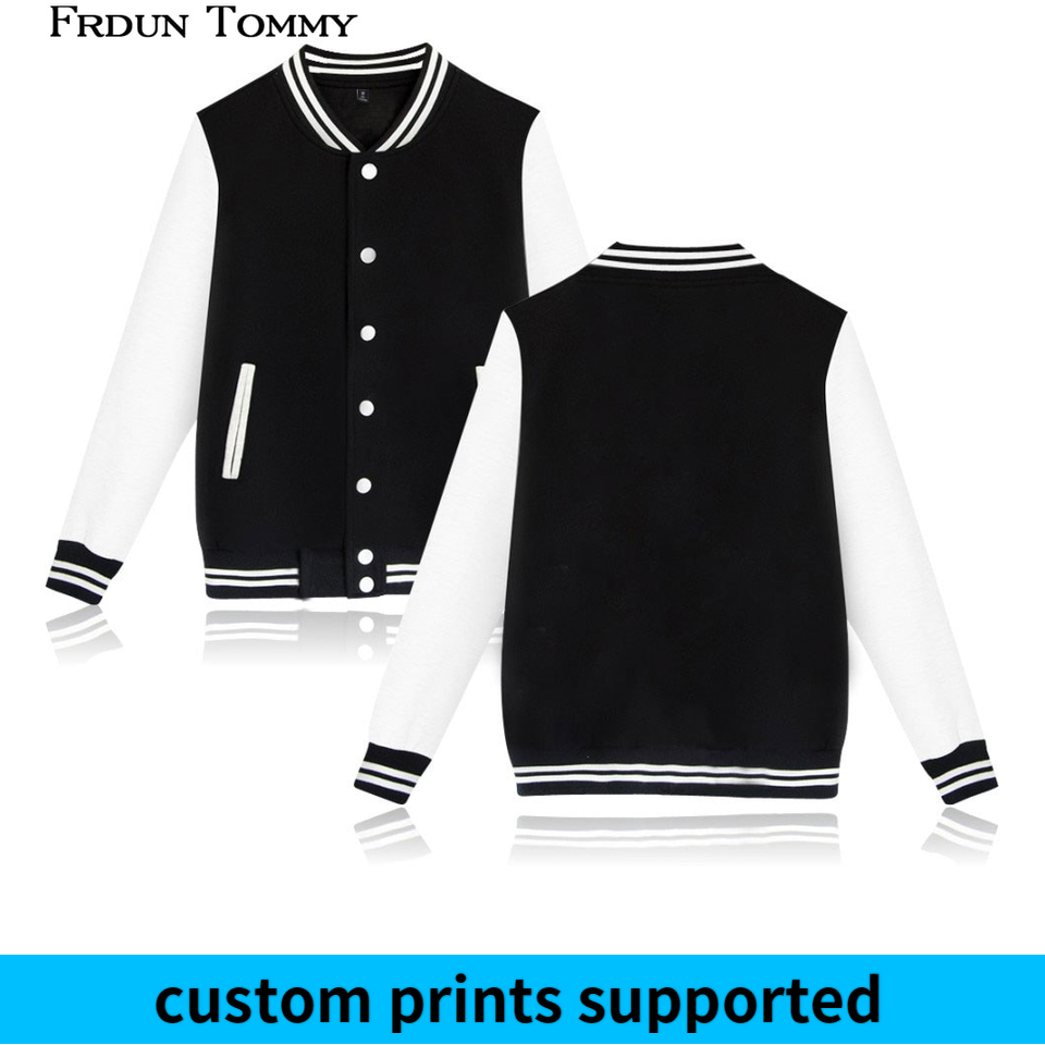Frdun Tommy Pure Color Baseball Jacket High Quality Warm High Collar Casual Fashion Winter/Autumn Thick Plus Size Coats Custom