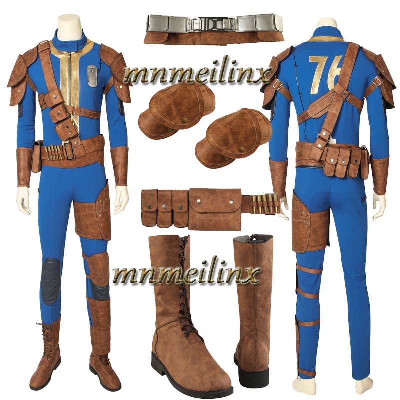 2019 Hot Cakes Vault 76 PC Cospaly Costume and Boots Sole Survivor Deacon Suit Halloween Any Size Zentai Customize Men's Outfit