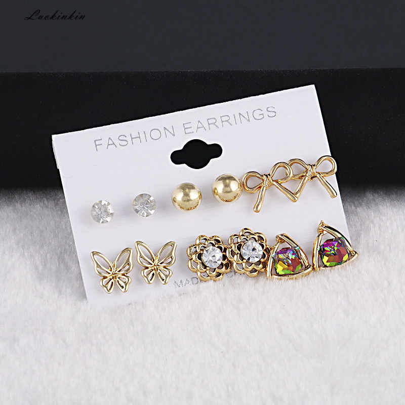 exquisite sun flower bow crystal alloy stud earrings set fashion jewelry for women,six pairs/sets in a box 2019 new