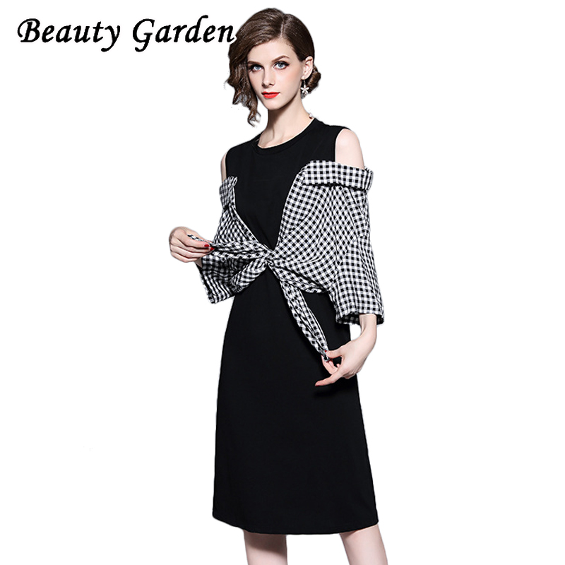 Beauty Garden Women Fashion Patchwork Dress Half Sleeve O