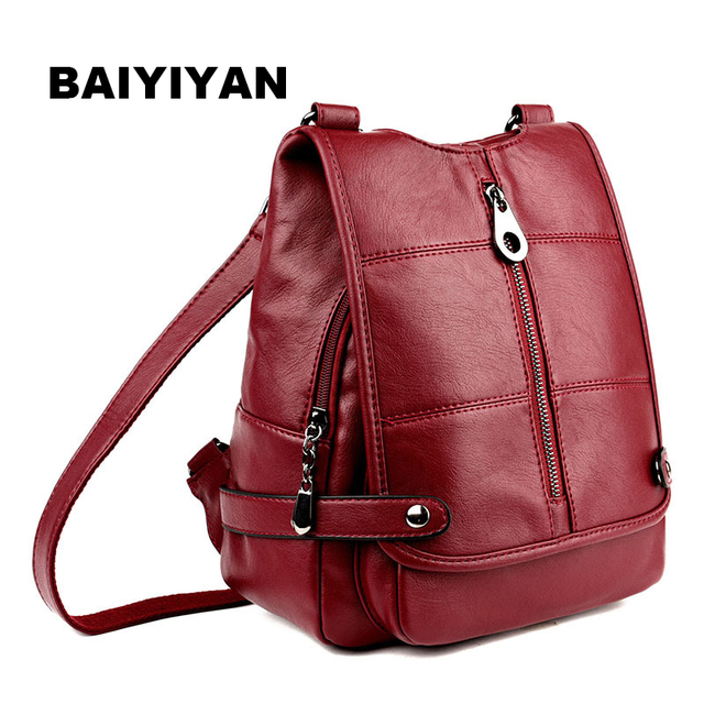 New Fashion Women Pu Leather 5 Colors Tote Shoulder Bag Large Capacity Multifunction Backpack Double