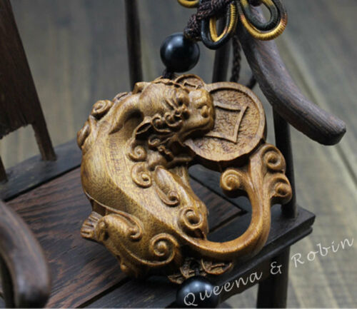 Wood Carving Chinese Pixiu Pi Yao Coin Foo Dog Statue Car Pendant Wooden Craft