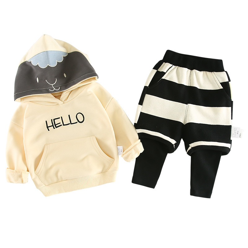 Spring Autumn baby boy clothes set fashion cotton long sleeved Hooded Sweater + Striped pants Newborn baby girl clothing set