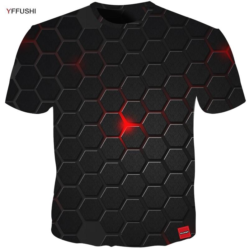 YFFUSHI 2018 Plus Size 5XL Male 3d t shirt Fashion Summer T shirt Top Dress Cool Plaid diamond 3d Hip Hop t shirts Fashion