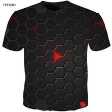 YFFUSHI בתוספת גודל 5XL זכר 3d t חולצה אופנה קיץ T חולצה למעלה שמלת מגניב משובץ יהלומי 3d היפ הופ t חולצות אופנה