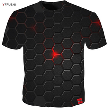 YFFUSHI Plus Size 5XL Male 3d t shirt Fashion Summer T shirt Top Dress Cool Plaid diamond 3d Hip Hop t shirts Fashion