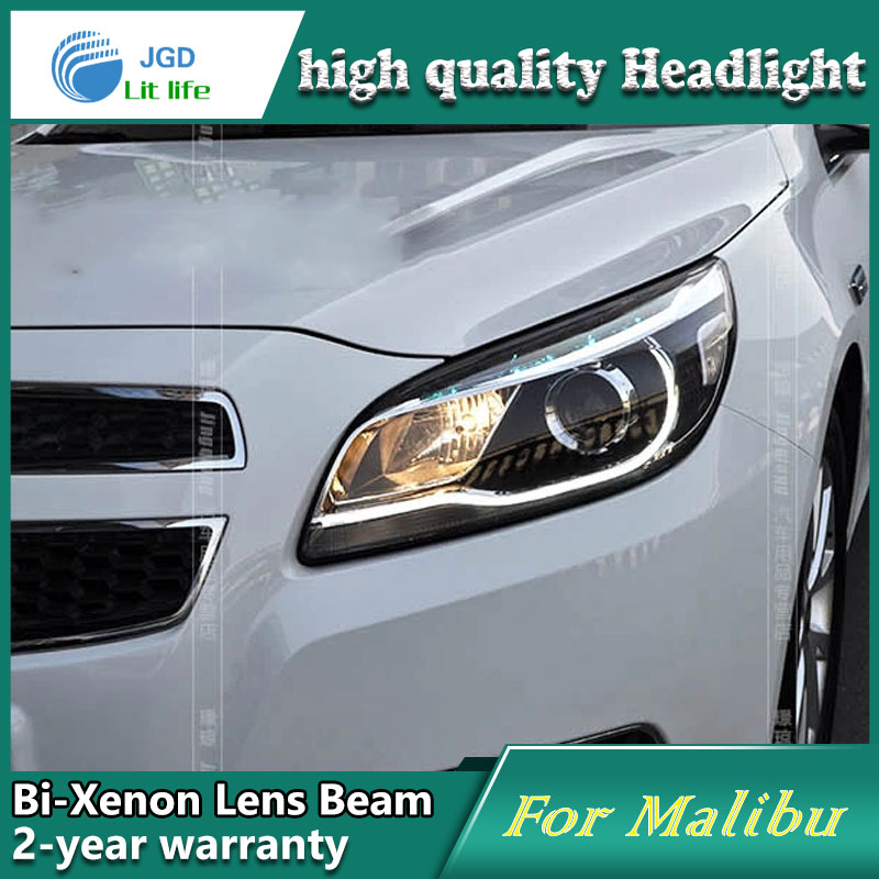 Car Styling Head Lamp case for Chevrolet Malibu Headlights LED Headlight DRL Lens Double Beam Bi-Xenon HID Accessories auto part style led head lamp for porsche 997 series led headlights for 997 drl h7 hid bi xenon lens angel eye low beam