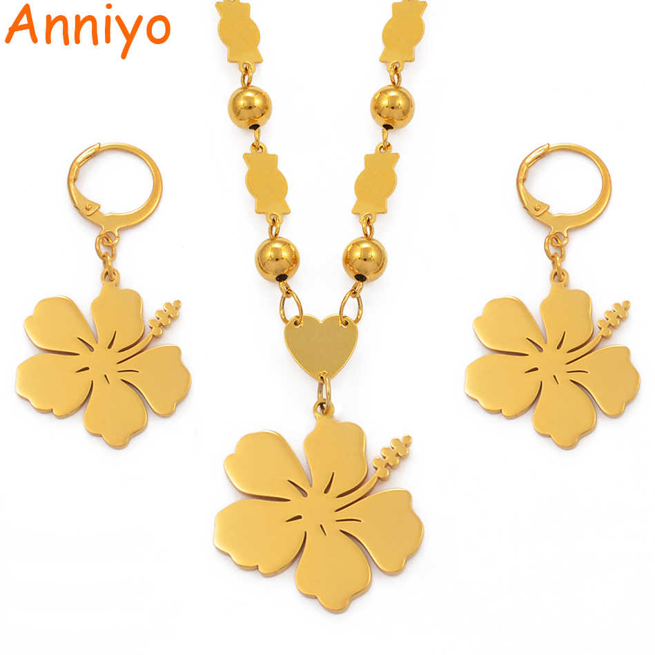 Anniyo Hawaii Flower Pendant Beads Necklaces Earrings Jewelry sets Gold Color Micronesia Marshall Pohnpei Guam #101921