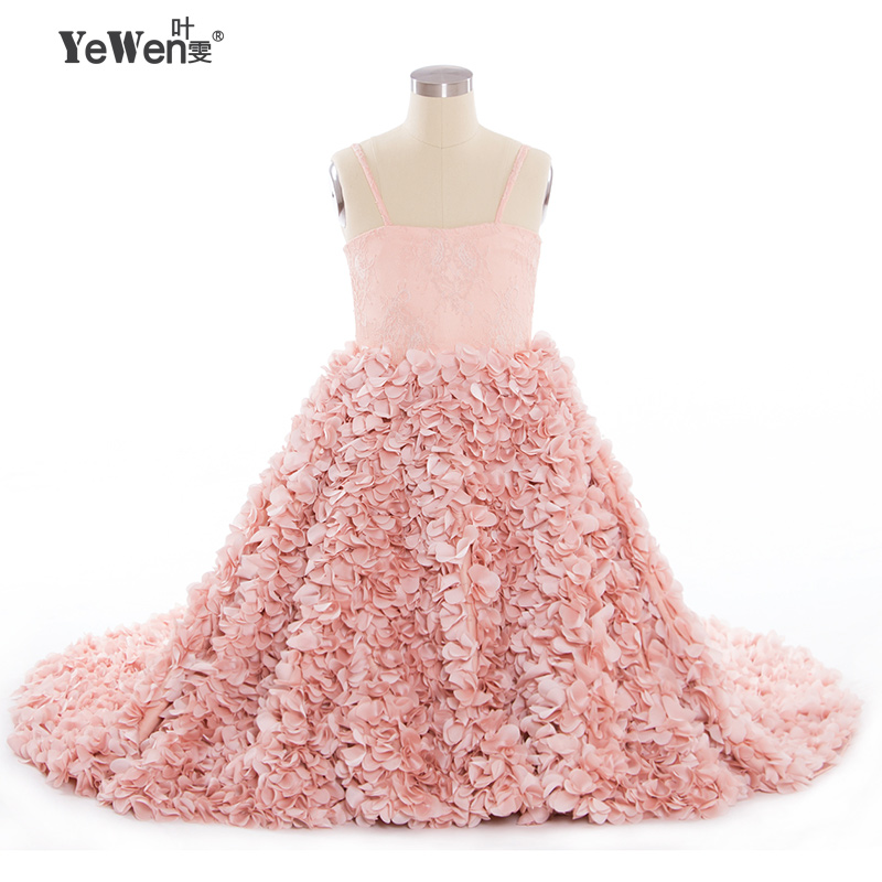 New design elegant   flower     girl     dresses   for weddings 2018 party   dresses   for   girls   2-14 years Lace Up Back kids evening gowns