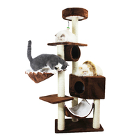 Pet Cat Sisal Rope Scratching Mat Scratch Post Climbing Tree House Wood Kitten Cat Play House Tower Toys Pets Furniture Supply