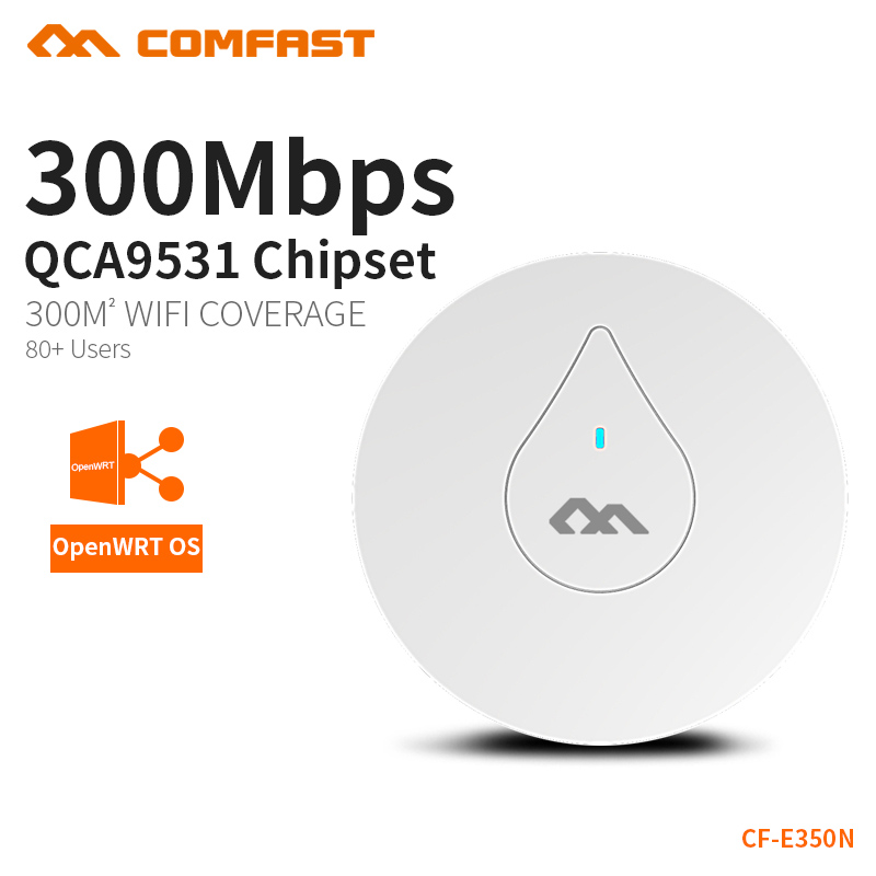 COMFAST 300Mbps WiFi Ceiling Wireless AP 802.11b/g/n Indoor AP 48V POE Support OPEN DD WRT Access Point Home Router CF-E350N comfast cf e325n ceiling ap 300mbps wifi router wireless repeater