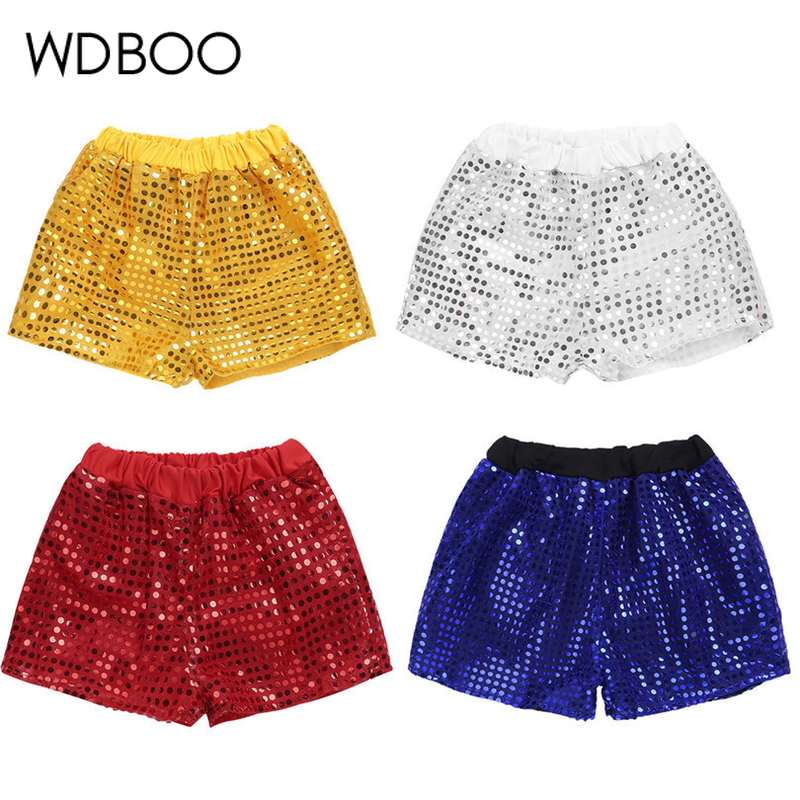 WDBOO Kid Children Unisex Glitter Shorts Sequin Elastic Costume For Choir Jazz Dance Boys Sparkle Summer Pants Stage Clothes