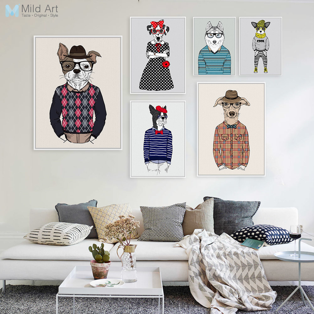 Modern Fashion Animal Dog Mops Portrait Poster A4 Gentleman Hippie Big Wall Art Picture Nordic Home Deco Canvas Painting Custom